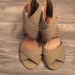 Olive green open toe sandals